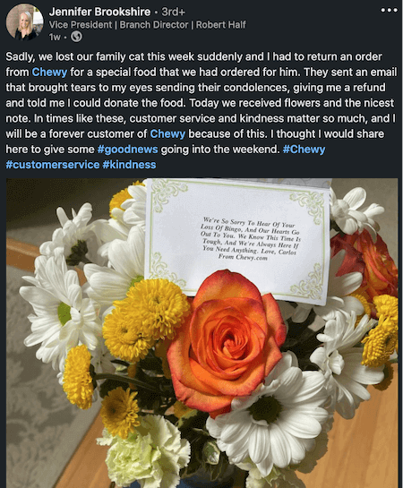 customer engagement strategy example: chewy customer gift