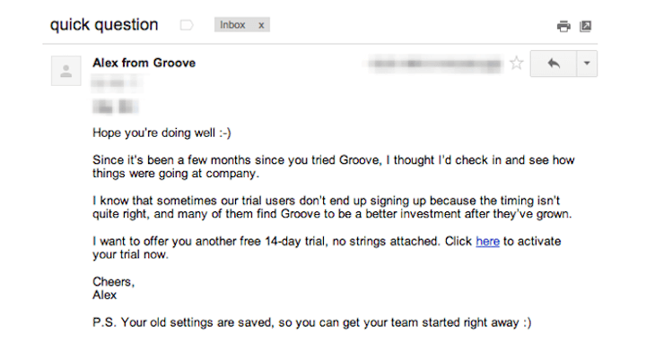 growth marketing examples: reengagement emails